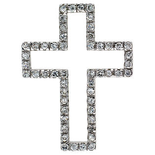 "Sabrina Silver Sterling Silver Cross Cut Out Pendant, w/ Brilliant Cut CZ Stones, 1 1/2"" (38 mm) tall, w/ 18"" Thin Snake Chain at Sears.com"