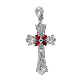 "Sabrina Silver Sterling Silver Cross Fleury Pendant, w/ Marquise Cut Ruby-colored & Brilliant Cut Clear CZ Stones, 1 5/16"" (33 mm) tall, w/ 18"" at Sears.com"