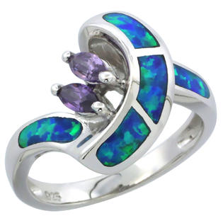 Sabrina Silver Sterling Silver Synthetic Opal Inlay Ring Marquise Shape Amethyst CZ Center, 1/2 inch wide, size 7 at Sears.com