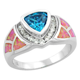 Sabrina Silver Sterling Silver Synthetic Pink Opal Ring Trillion Cut Blue Topaz CZ Center & White CZ Accent, 1/2 inch wide, size 6 at Sears.com