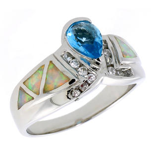 Sabrina Silver Sterling Silver Synthetic Pink Opal Ring Teardrop Blue Topaz CZ Center & White CZ Accent, 1/2 inch wide, size 8 at Sears.com