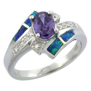 Sabrina Silver Sterling Silver Synthetic Opal Inlay Ring Oval Shape Amethyst CZ Center & white CZ Accent, 1/2 inch wide, size 6 at Sears.com