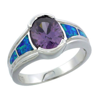 Sabrina Silver Sterling Silver Synthetic Opal Inlay Ring Oval Shape Amethyst CZ Center 1/2 inch wide, size 7 at Sears.com