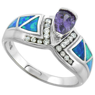 Sabrina Silver Sterling Silver Synthetic Opal Inlay Ring Teardrop Amethyst CZ Center & white CZ Accent, 1/2 inch wide, size 9 at Sears.com
