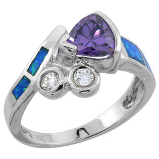 Sabrina Silver Sterling Silver Synthetic Opal Inlay Ring Trillion Cut Amethyst CZ Center & white CZ Accent, 1/2 inch wide, size 9 at Sears.com