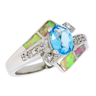 Sabrina Silver Sterling Silver Synthetic Pink Opal Ring Oval Shape Blue Topaz CZ Center & White CZ Accent, 1/2 inch wide, size 9 at Sears.com