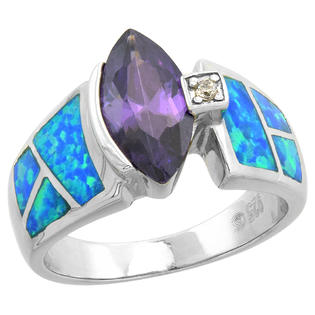 Sabrina Silver Sterling Silver Synthetic Opal Inlay Ring Marquise Shape Amethyst CZ Center 1/2 inch wide, size 6 at Sears.com