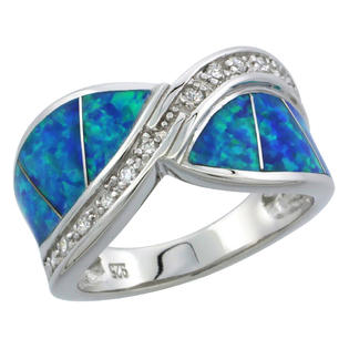 Sabrina Silver Sterling Silver Synthetic Opal Inlay Wave Ring CZ Stone Accent, 1/2 inch wide at Sears.com