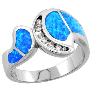 Sabrina Silver Sterling Silver Synthetic Opal Inlay Ring w/ CZ stone Accents, 1/2 inch Wide at Sears.com