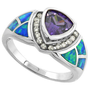 Sabrina Silver Sterling Silver Synthetic Opal Inlay Ring Trillion Cut Amethyst CZ Center & white CZ Accent, 1/2 inch wide at Sears.com