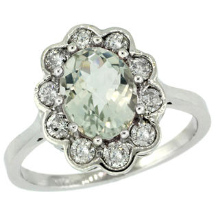 Sabrina Silver 14k White Gold ( 9x7 mm ) Halo Engagement Green Amethyst Ring w/ 0.58 Carat Brilliant Cut ( H-I Color; VS2-SI1 Clarity ) Diamond at Sears.com