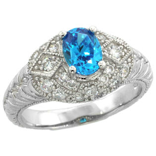 Sabrina Silver Sterling Silver Vintage Style Engagement Ring w/ 7x5mm Oval Cut Blue Topaz Color & Brilliant Cut CZ Stones, 3/8 in. (10 mm) wide at Sears.com