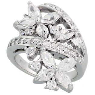 Sabrina Silver Sterling Silver Flower Garden Cubic Zirconia Ring with  carat size Marquise Cut Stones, 1 1/8 inch (28 mm) wide, size 9 at Sears.com
