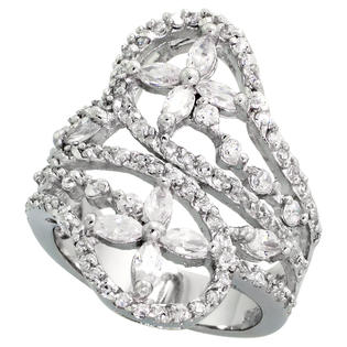 Sabrina Silver Sterling Silver Flower Pattern Cubic Zirconia Spoon Ring with 1/10 carat size Marquise Cut Stones, 1 1/16 inch (27 mm) wide, siz at Sears.com