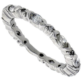 Sabrina Silver Sterling Silver Cubic Zirconia Eternity Band Ring Marquise Cut 4x2mm Rhodium finish, size 9 at Sears.com