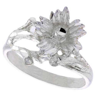 Sabrina Silver Sterling Silver Floral Design Ring Diamond Cut finish 5/8 inch wide, size 7.5 at Sears.com