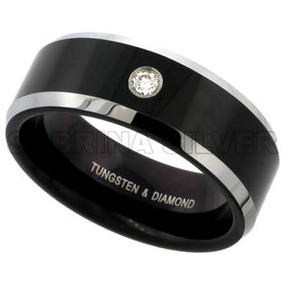 Sabrina Silver Tungsten Carbide Diamond 8 mm Wedding Band Ring 0.07 cttw Two-tone Black Finish Beveled Edges, sizes 8 to 13 at Sears.com
