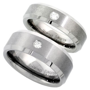 Sabrina Silver 2-Ring Set Tungsten Carbide Diamond 8 & 6 mm His & Hers Wedding Band Ring 0.137 cttw Matte Finish Beveled Edges, size 9.5 at Sears.com