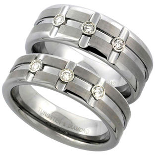 Sabrina Silver 2-Ring set Tungsten Carbide Diamond 6 & 8 mm Wedding Band 3 Stone Ring 0.22 cttw Satin Finish Horizontal and Vertical Grooves, l at Sears.com