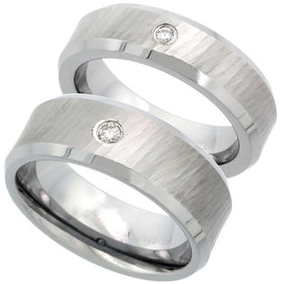 Sabrina Silver 2-Ring Set Tungsten Carbide Diamond 6 & 8 mm Him & Her Wedding Band Ring 0.10 cttw Dazzling Antiqued Diamond Cut Finish Beveled at Sears.com