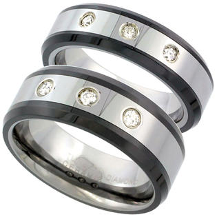 Sabrina Silver 2-Ring set Tungsten Carbide Diamond 6 & 8 mm Wedding Band 3 Stone Ring 0.25 cttw Beveled Black Ceramic Inlay Edges, ladies sizes at Sears.com