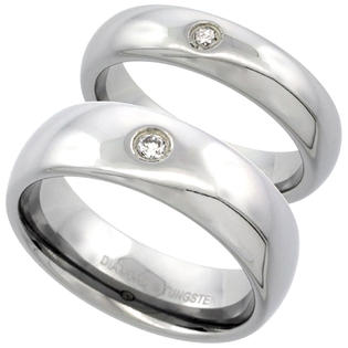 Sabrina Silver 2-Ring Set Tungsten Carbide Diamond 5 & 7 mm Domed Wedding Band Ring 0.09 cttw Polished Finish ladies sizes 5-9.5, mens 8 - 13 at Sears.com