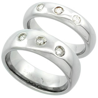 Sabrina Silver 2-Ring set Tungsten Carbide Diamond 5 & 7 mm Domed Wedding Band 3 Stone Ring 0.23 cttw Polished Finish, ladies sizes 5-9.5, mens at Sears.com
