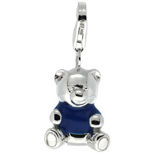 Sabrina Silver Sterling Silver Teddy Bear Charm for Bracelet, 13/16 in. (21 mm) tall, Blue Enamel Finish at Sears.com
