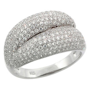 Sabrina Silver Sterling Silver Cubic Zirconia Micro Pave By Pass Band, Sizes 6 to 9 at Sears.com