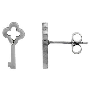 Sabrina Silver Small Stainless Steel Antique Key Stud Earrings, 1/2 inch High at Sears.com