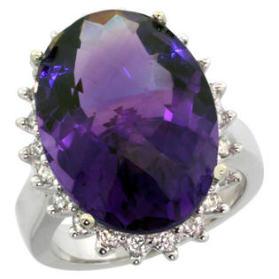 Sabrina Silver 14k White Gold Diamond Halo Amethyst Ring 10 ct Large Oval Stone 18x13 mm, 7/8 inch wide, size 5 at Sears.com