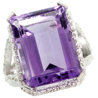 Sabrina Silver 14k White Gold Diamond Amethyst Ring 14.96 ct Emerald shape 18x13 Stone 13/16 inch wide, size 7 at Sears.com