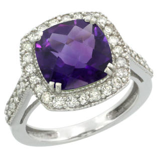 Sabrina Silver 14k White Gold Diamond Halo Amethyst Ring Checkerboard Cushion 9 mm 2.4 ct 1/2 inch wide, size 8 at Sears.com
