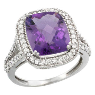 Sabrina Silver 14k White Gold Diamond Halo Amethyst Ring Checkerboard Cushion 12x10 4.8 ct 3/4 inch wide, size 7 at Sears.com