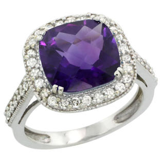 Sabrina Silver 14k White Gold Diamond Halo Amethyst Ring Cushion Shape 10 mm 4.5 ct 1/2 inch wide, size 5 at Sears.com