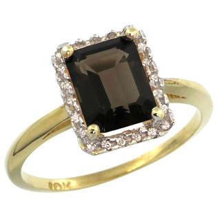 Sabrina Silver 10k Yellow Gold Diamond Smoky Topaz Ring 1.6 ct Emerald Shape 8x6 mm, 1/2 inch wide, size 9.5 at Sears.com