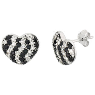 Sabrina Silver Sterling Silver Black and White Cubic Zirconia Heart Post Earrings Rhodium Finish, 7/16 inch long