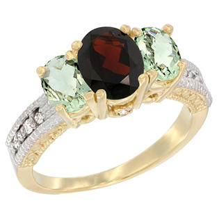 Sabrina Silver 10K Yellow Gold Ladies Oval Natural Garnet Ring 3-stone with Green Amethyst Sides Diamond Accent
