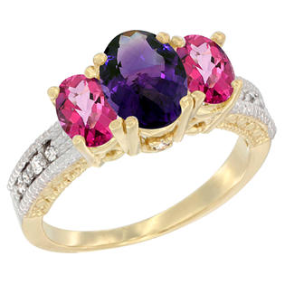 Sabrina Silver 10K Yellow Gold Ladies Oval Natural Amethyst Ring 3-stone with Pink Topaz Sides Diamond Accent