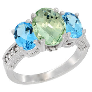 Sabrina Silver 10K White Gold Natural Green Amethyst Ring Ladies 3-Stone Oval 8x6mm with Swiss Blue Topaz Sides Diamond Accent, sizes 5 ...