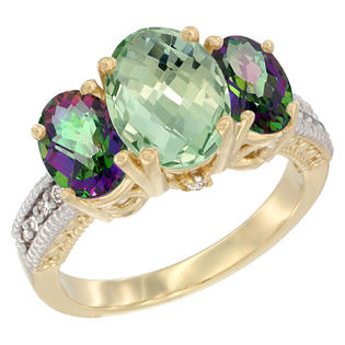 Sabrina Silver 10K Yellow Gold Natural Green Amethyst Ring Ladies 3-Stone Oval 8x6mm with Mystic Topaz Sides Diamond Accent, sizes 5 - ...
