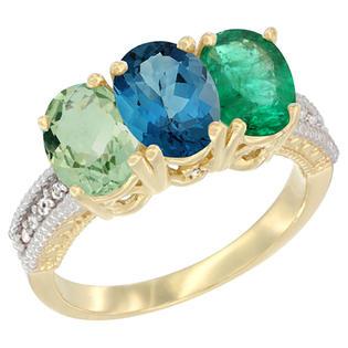 Sabrina Silver 10K Yellow Gold Diamond Natural Green Amethyst London Blue Topaz & Emerald Ring Oval 3-Stone 7x5 mm sizes 5-10