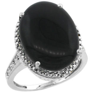 Sabrina Silver 10K White Gold Diamond Natural Black Onyx Ring Oval 18x13mm, 3/4 inch wide, sizes 5-10