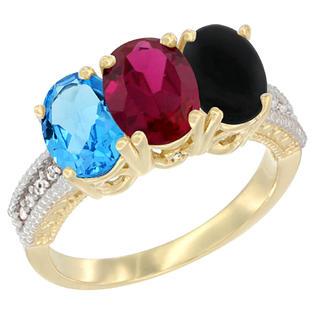 Sabrina Silver 10K Yellow Gold Diamond Natural Swiss Blue Topaz Enhanced Ruby & Natural Black Onyx Ring 3-Stone Oval 7x5 mm sizes ...