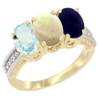 Sabrina Silver 10K Yellow Gold Natural Aquamarine Opal & Lapis Ring 3-Stone Oval 7x5 mm sizes 5 - 10