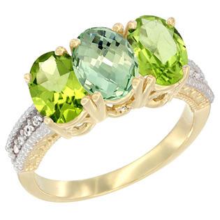 Sabrina Silver 10K Yellow Gold Diamond Natural Green Amethyst & Peridot Ring 3-Stone 7x5 mm Oval sizes 5 - 10
