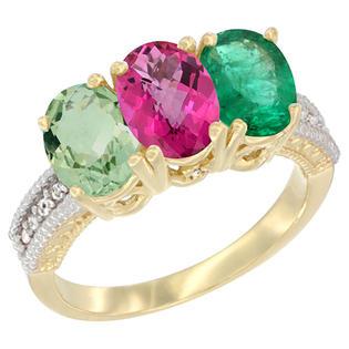 Sabrina Silver 10K Yellow Gold Diamond Natural Green Amethyst Pink Topaz & Emerald Ring Oval 3-Stone 7x5 mm sizes 5-10