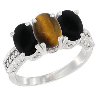 Sabrina Silver 10K White Gold Diamond Natural Tiger Eye & Black Onyx Ring 3-Stone 7x5 mm Oval, sizes 5 - 10