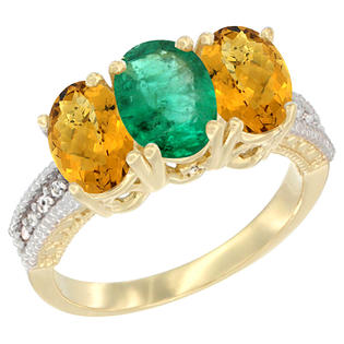 Sabrina Silver 14K Yellow Gold Natural Emerald Ring with Whisky Quartz 3-Stone 7x5 mm Oval Diamond Accent, sizes 5 - 10