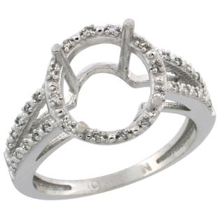 Sabrina Silver 10k White Gold Semi-Mount Ring ( 11x9 mm ) Oval Stone & 0.09 ct Diamond Accent, sizes 5 ...
